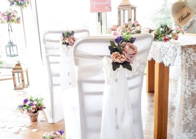 Gorgeous crisp white styled chairs for your very special day by Marcia